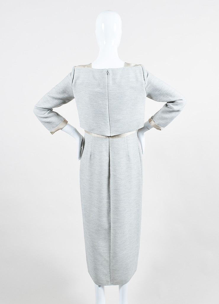 "Wes Gordon Grey and Nude ""Sand"" Satin Panel ""Trompe L'Oeil"" Dress Backview"