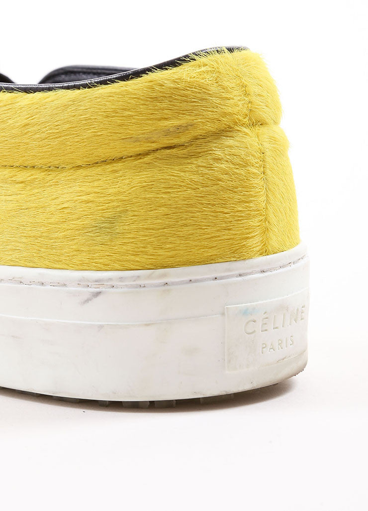 Celine Yellow and Black Pony Hair Slip On Sneakers Detail 2