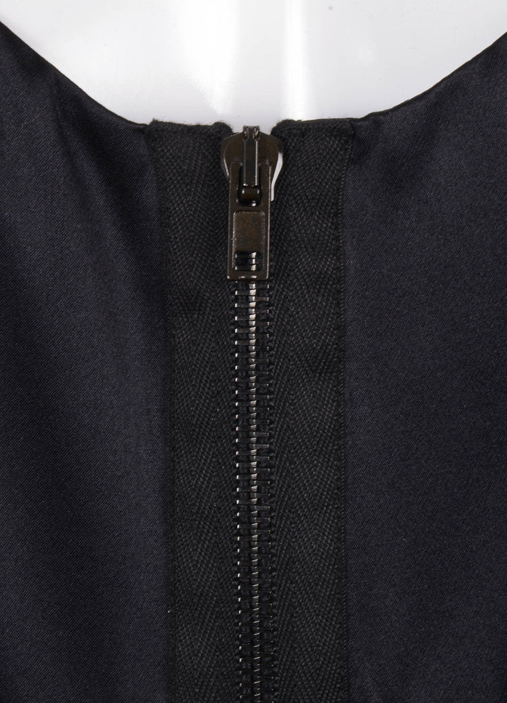 Black Alexander Wang Zip Front Flutter Sleeve Silk Satin Dress
