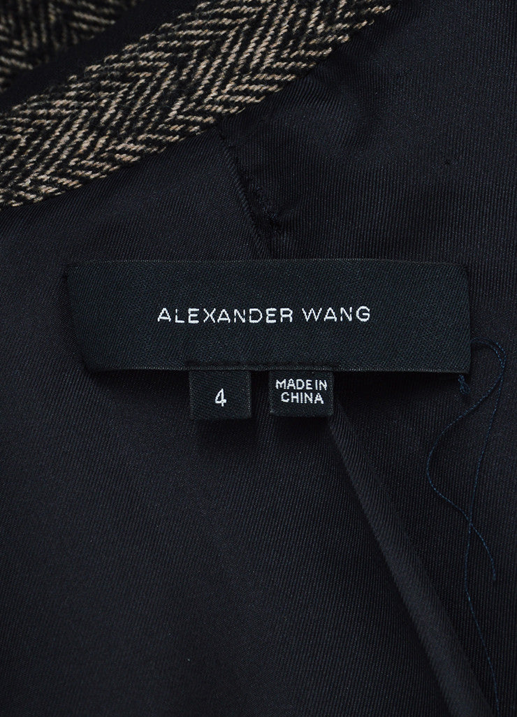 Alexander Wang Black and Grey Wool and Alpaca Blend Herringbone Coat Brand