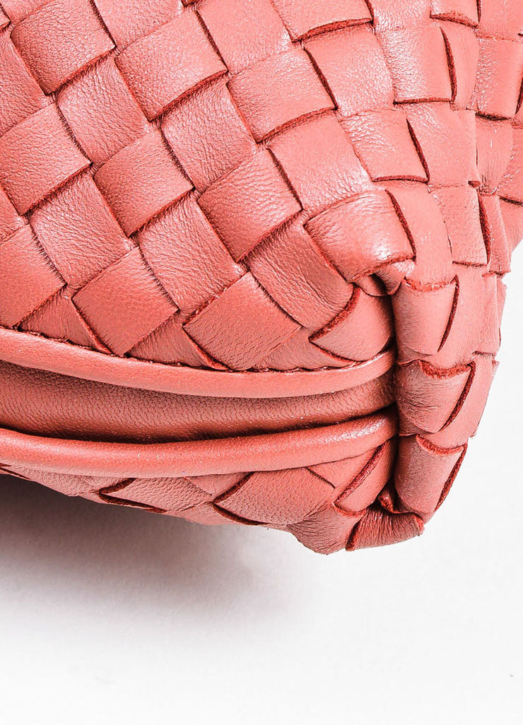 Mauve Pink Bottega Veneta Leather Intrecciato Woven Small Cross Body Bag Detail