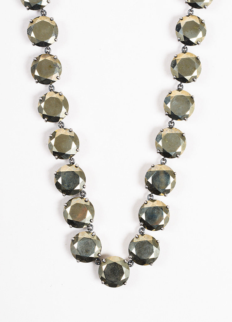 Bottega Veneta Bronze Sterling Silver Round Crystal Embellished Necklace Detail