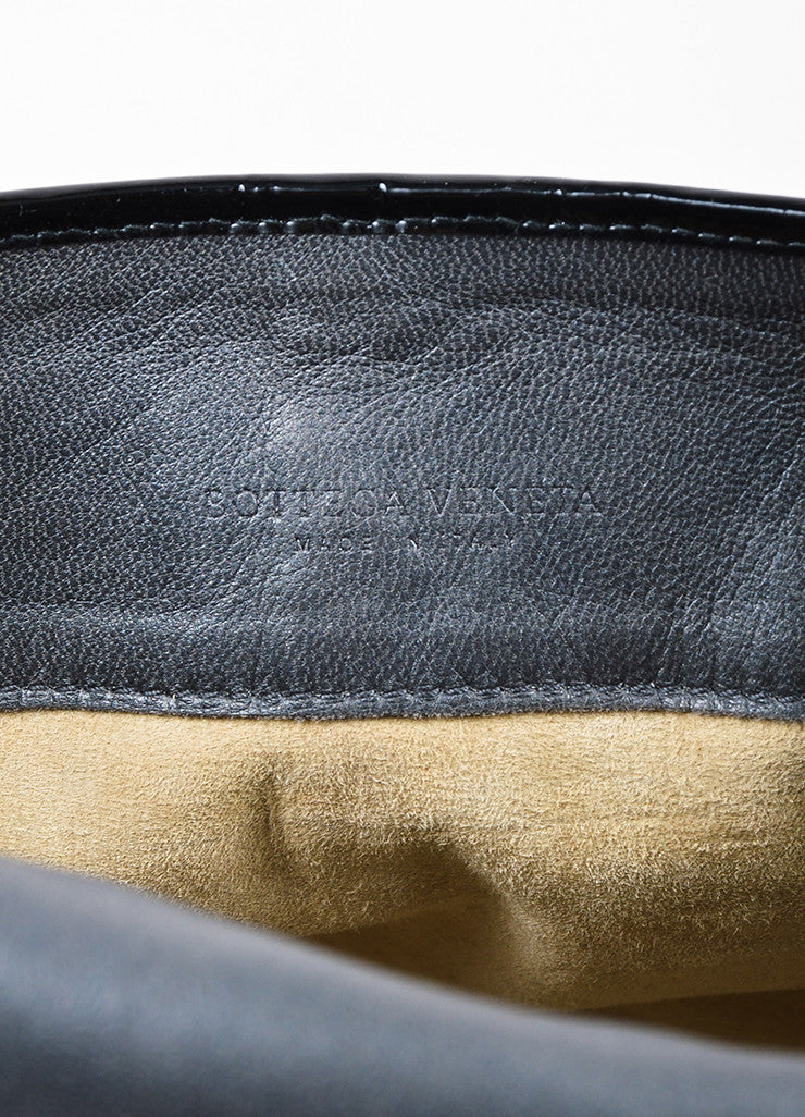 ¥éËBottega Veneta Black Gunmetal Metallic Python Leather Shoulder Messenger Bag Brand