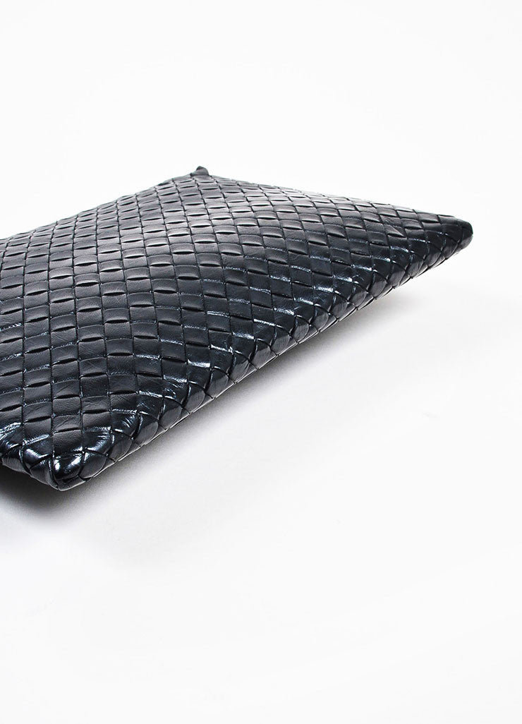 "Bottega Veneta Matte and Metallic Black ""Intrecciato"" Nappa Leather Zipped Pouch Bag Bottom View"
