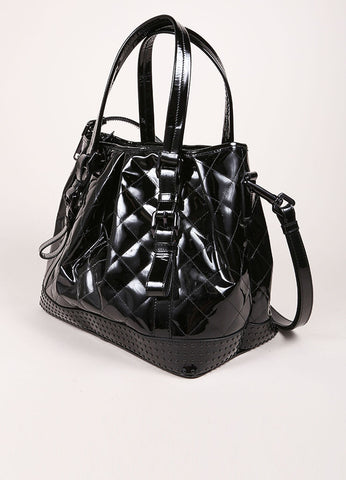 Burberry Burberry Black Patent Leather Buckle Strap Studded Tote Bag Sideview