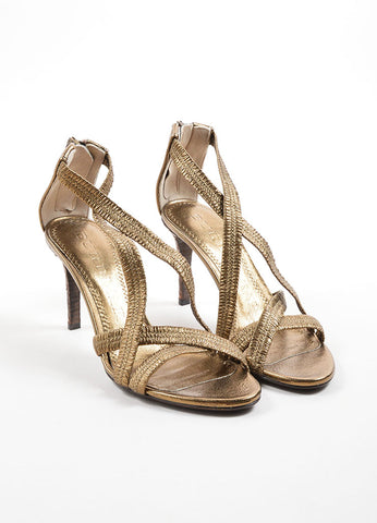 Burberry  Metallic Bronze Leather Plisse Strappy Heeled Sandals Frontview