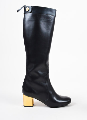 Celine Black Leather Zipped Metallic Block Heel Calf High Boots Sideview