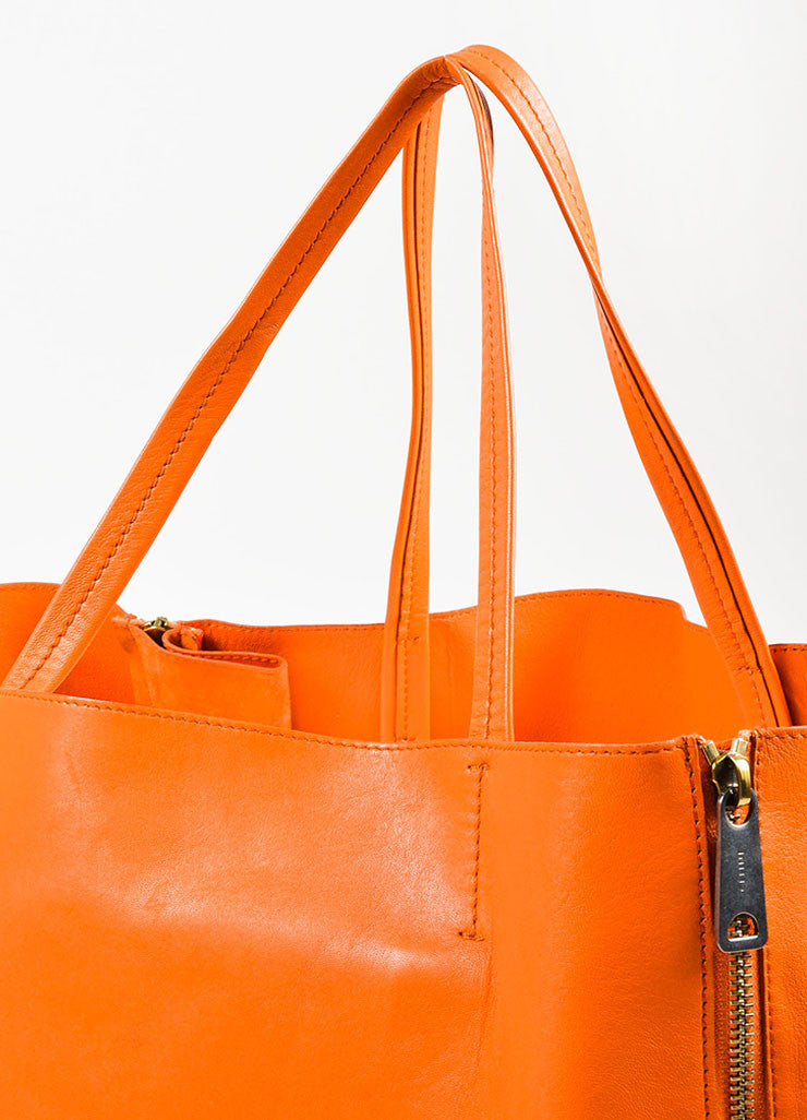 "Celine Orange Leather ""Horizontal Gusset Cabas"" Tote Bag Detail 5"