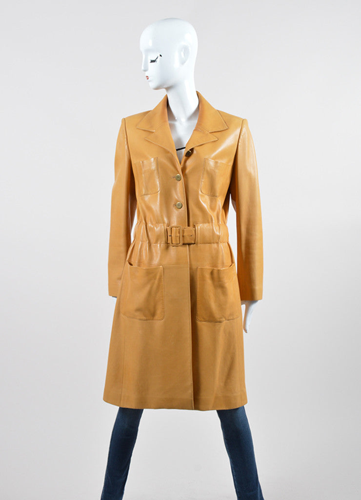 Mustard Yellow Chanel Lambskin Leather Silk Lined Long Belted Jacket  Frontview