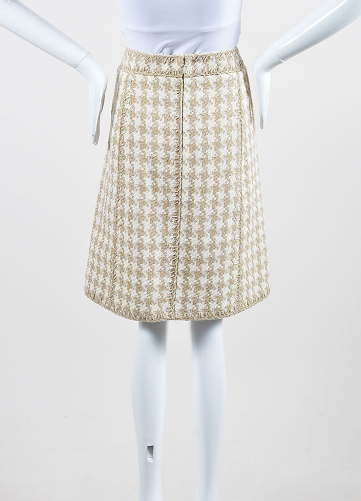 Taupe and White Chanel Silk Woven Houndstooth A-Line Skirt Backview