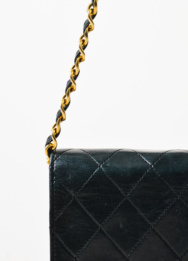 "Chanel Black Leather Quilted Single Flap Chain Strap ""CC"" Mini Bag Detail 2"