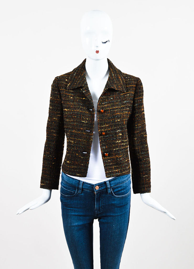 Chanel Brown Wool Tweed Clear Flower Button Jacket Frontview