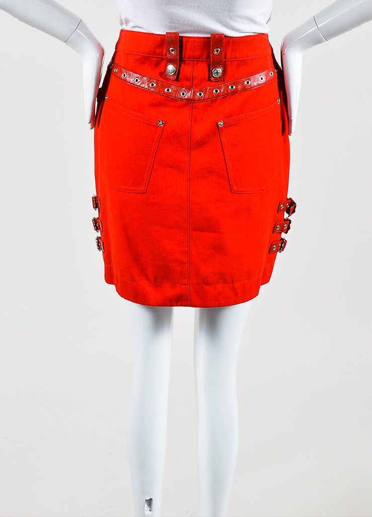 Red Christian Dior Cotton Leather Straps Mini Skirt Backview