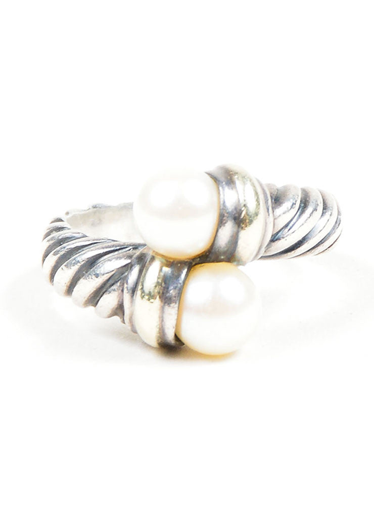 Sterling Silver & 14K Gold David Yurman Pearl Ring Front