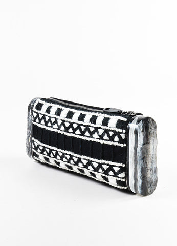 "Edie Parker Black and White Woven Acrylic Side ""Lara"" Clutch Bag Sideview"
