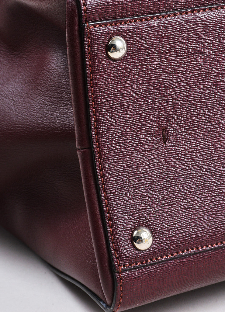 "Fendi Maroon Textured Leather Top Handle ""3 Jours"" Medium Trapeze Tote Bag Detail"