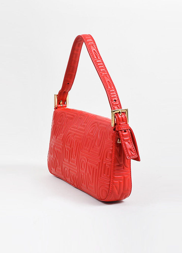 Red Fendi Leather Embossed Baguette Bag Sideview