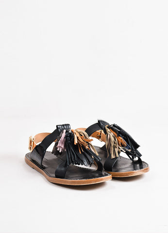"Isabel Marant Etoile Black and Tan Leather Fringe Tasseled ""Pompons"" Sandals Frontview"