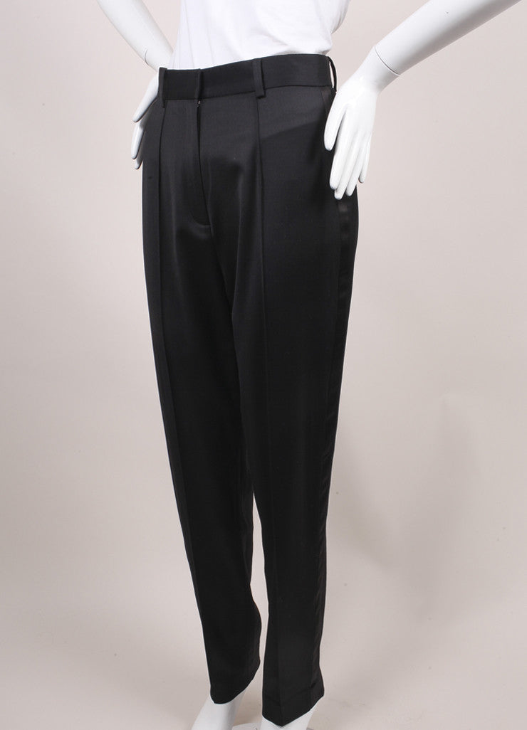 Jason Wu New With Tags Black High Waisted Wool and Satin Tuxedo Trousers Sideview