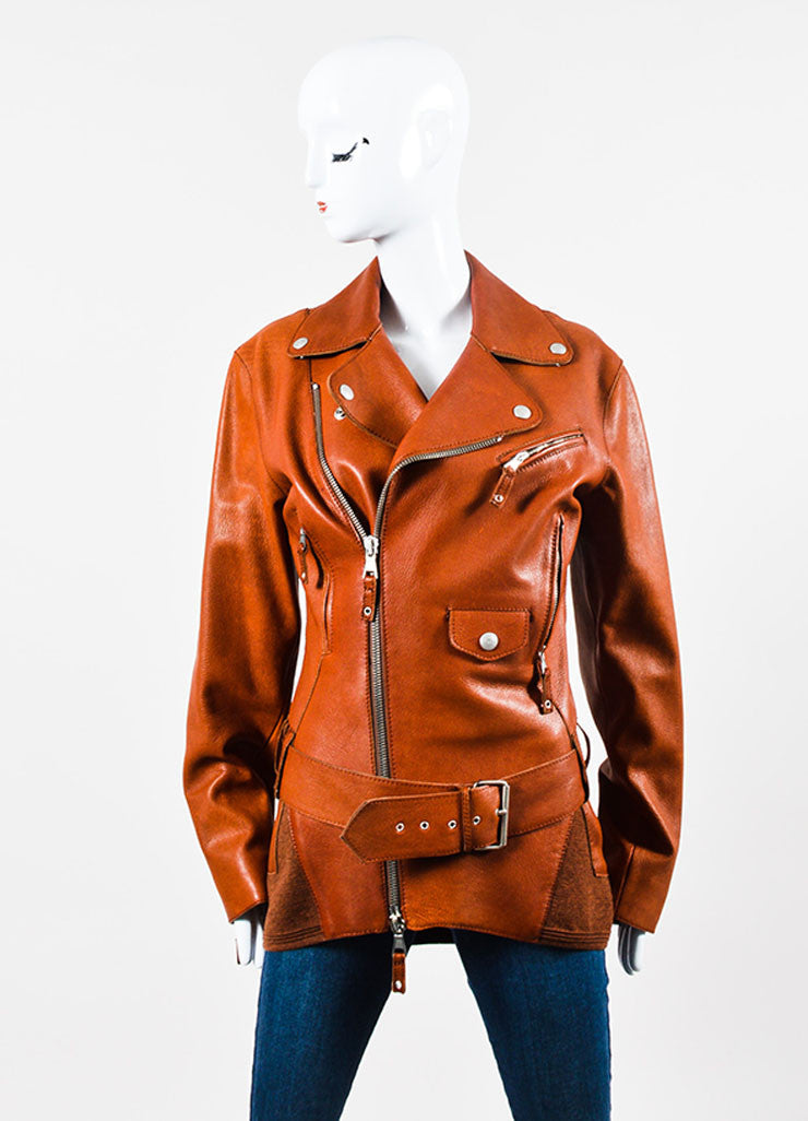 Cognac Jean Paul Gaultier Leather Belted Moto Jacket Front