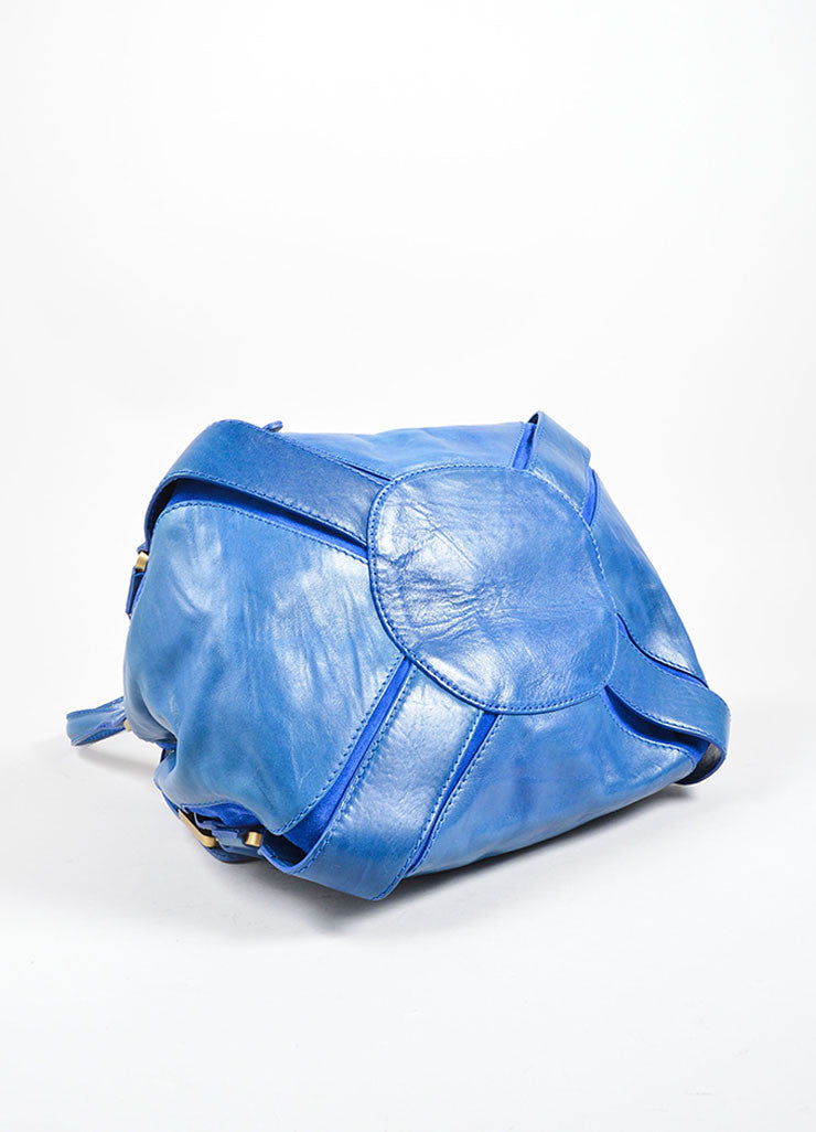 "Jimmy Choo Cobalt Blue Leather ""Mahala"" Shoulder Bag Bottom View"