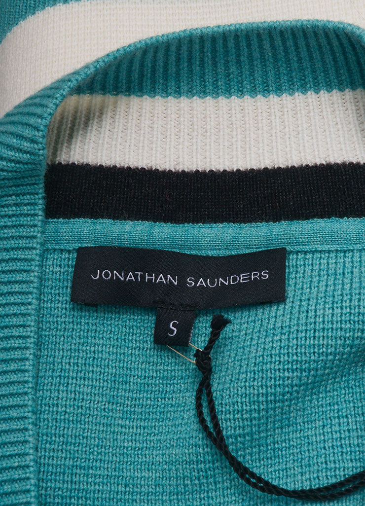 "Jonathan Saunders New With Tags Turquoise Wool Stripe Oversized ""Leanne"" Sweater Brand"