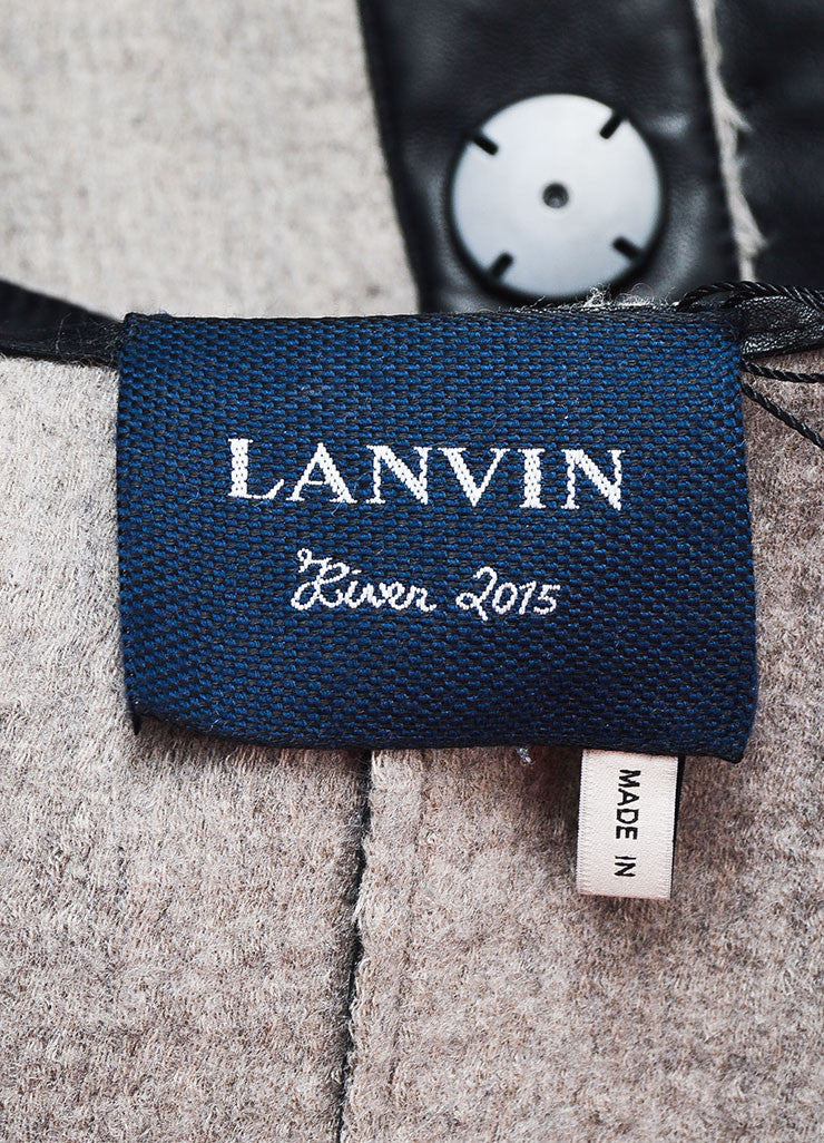 Black and Grey Lanvin Leather and Wool Leopard Spotted Jacket Brand