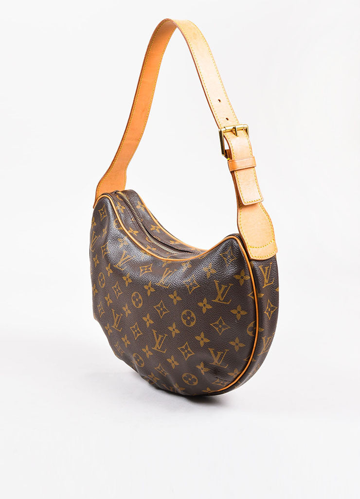"Louis Vuitton Brown and Tan Coated Canvas Monogram ""Croissant MM"" Shoulder Bag Sideview"