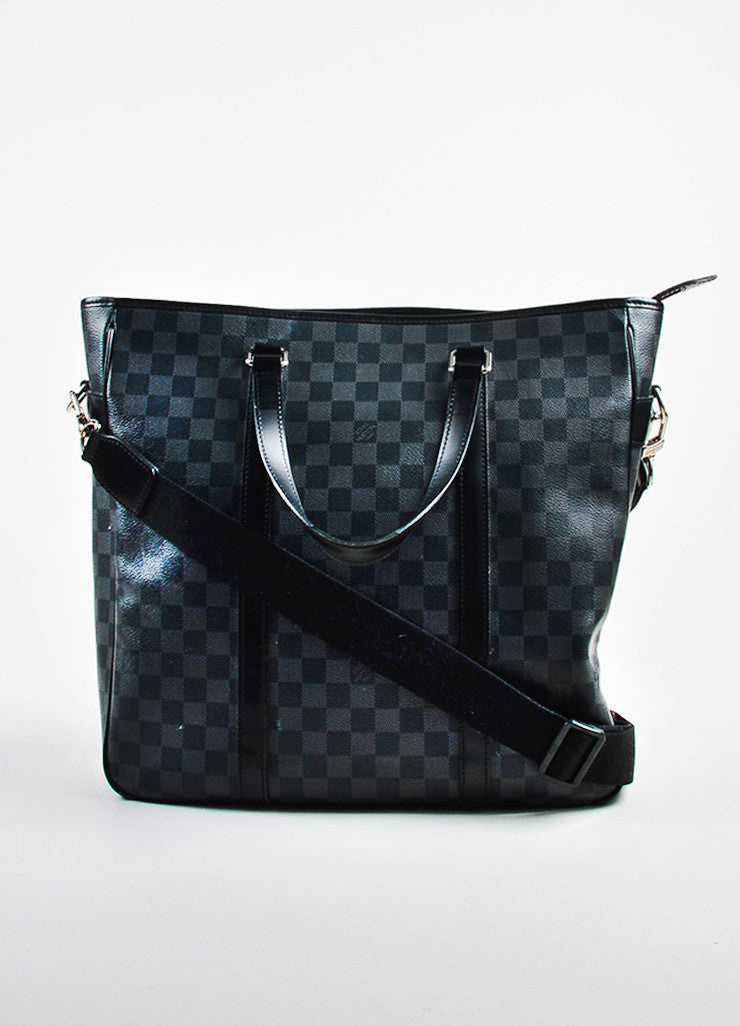 "Grey Louis Vuitton ""Graphite Damier"" Coated Canvas ""Tadao"" Bag Front"