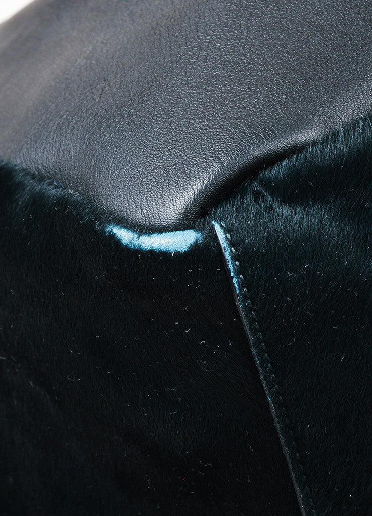 Black and Dark Green Marni Leather and Pony Hair Paneled Shoulder Bucket Bag Detail