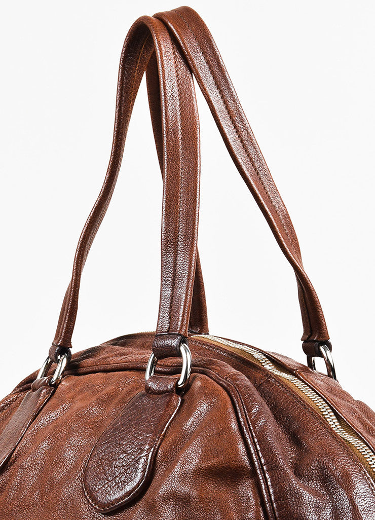 Prada Brown Distressed Leather Silver Toned Zip Multipocket Satchel Shoulder Bag Detail 2