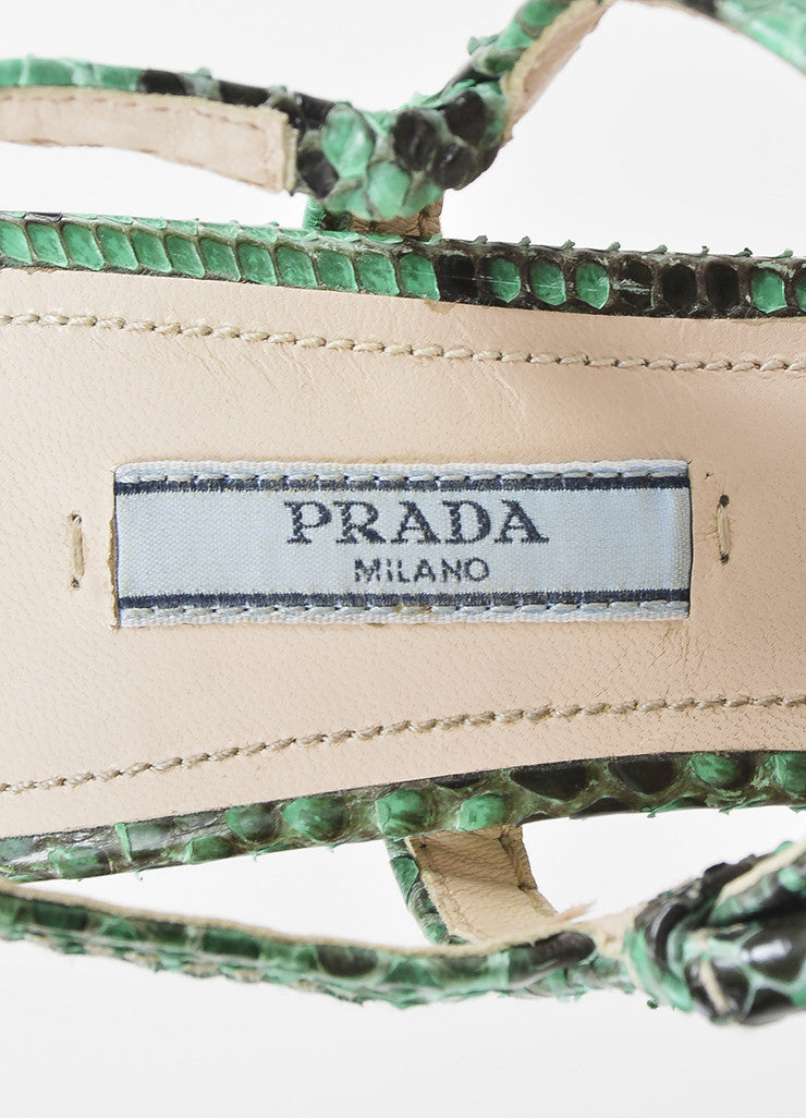 Prada Green, Brown, and Beige Python and Wood Bow Strap Platform Sandals Brand