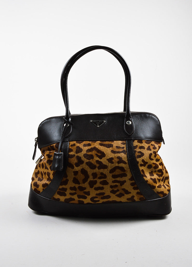 Tan Brown Prada Pony Hair Leather Leopard Print Satchel Tote Bag Front