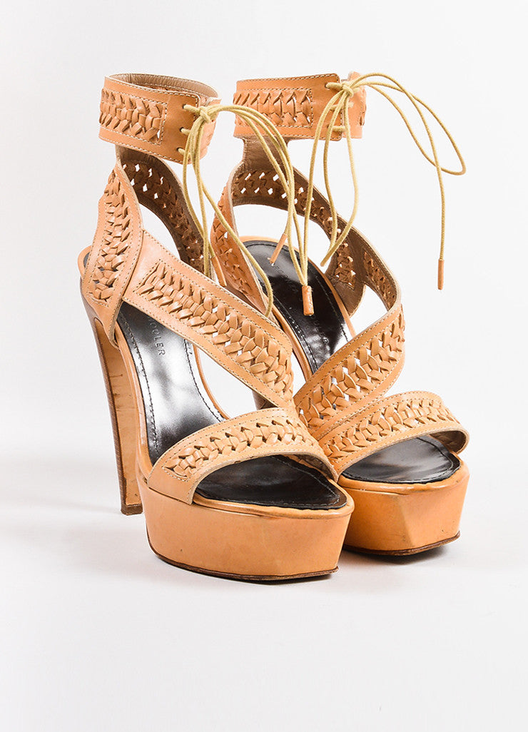 Proenza Schouler Light Tan Woven Leather Platform Sandal Heels Frontview