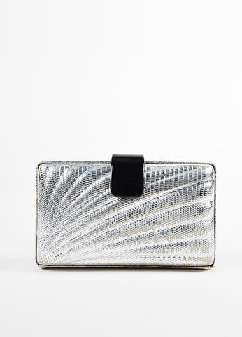 Emilio Pucci Silver Embossed Leather Black Plastic Strap Turn Lock Clutch Bag Frontview