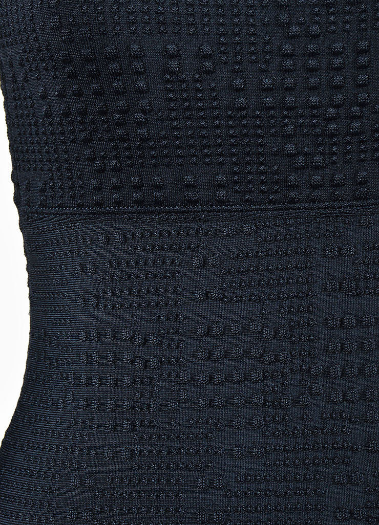 Black Roland Mouret Textured Knit Sleeveless Fitted Bodycon Dress Detail