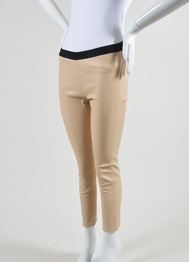 The Perfext Nude Beige and Black Leather Skinny Legging Pants Sideview