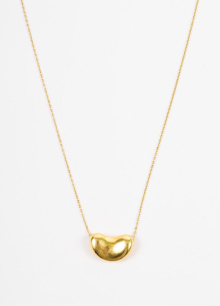 "Tiffany & Co. Elsa Peretti 18k Yellow Gold ""Bean"" Pendant Necklace Detail"