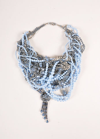 Tom Binns Blue and Gunmetal Pearl and Rhinestone Contrast Twist Chain Drop Necklace Frontview