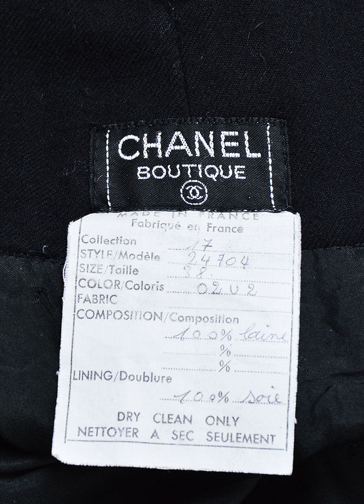 Black Chanel Wool High Waisted Wide Leg Sailor Pants Brand
