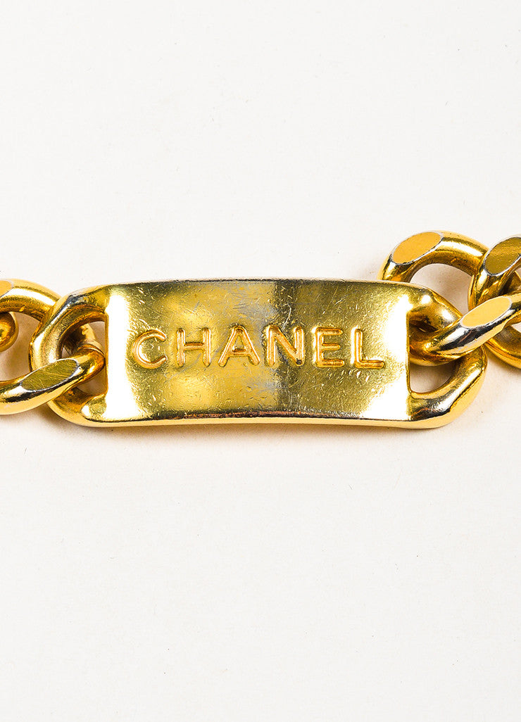 Gold Toned Chanel 'CC' Logo Coin Charm Curb Chain Belt Brand