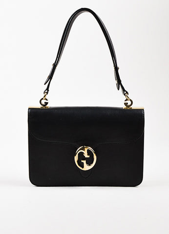 "Gucci Black Leather ""1973 Small Top Handle"" Shoulder Bag Frontview"