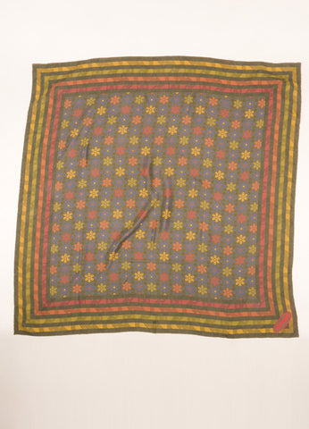 Missoni Green and Multicolor Stripe and Radial Start Print Silk Scarf Frontview 2