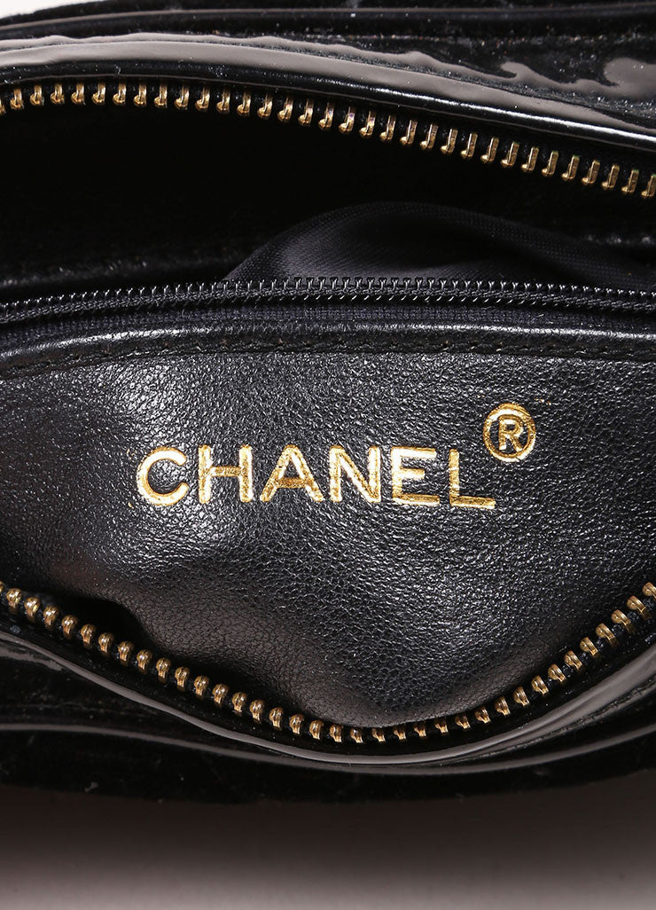 Chanel Black Velvet Quilted Patent Grim Gold Toned Chain Bag Brand
