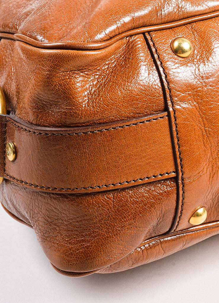 "Cognac Brown Yves Saint Laurent Glossy Leather ""Muse Messenger"" Bag Detail 2"