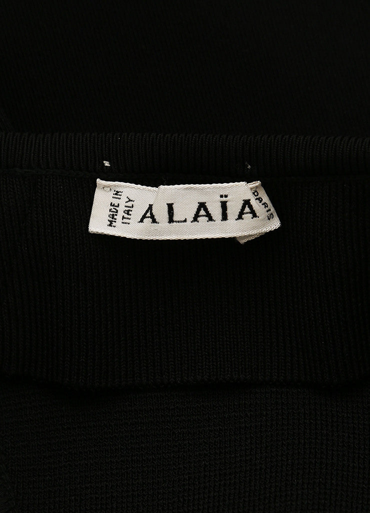 Alaia Black Stretch Knit Ribbed Trim High Waisted Legging Riding Pants Brand