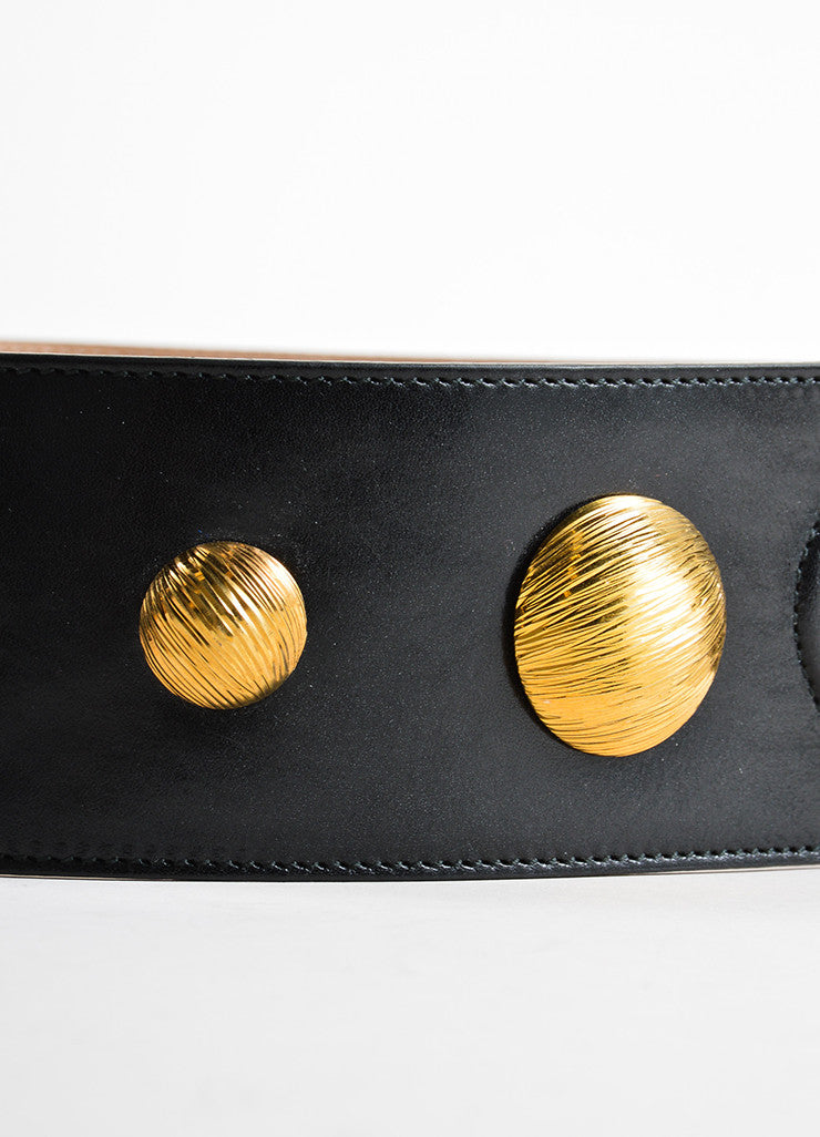 Alexander McQueen Black and Gold Toned Leather Studded Waist Belt Detail 2