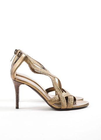 Burberry  Metallic Bronze Leather Plisse Strappy Heeled Sandals Sideview