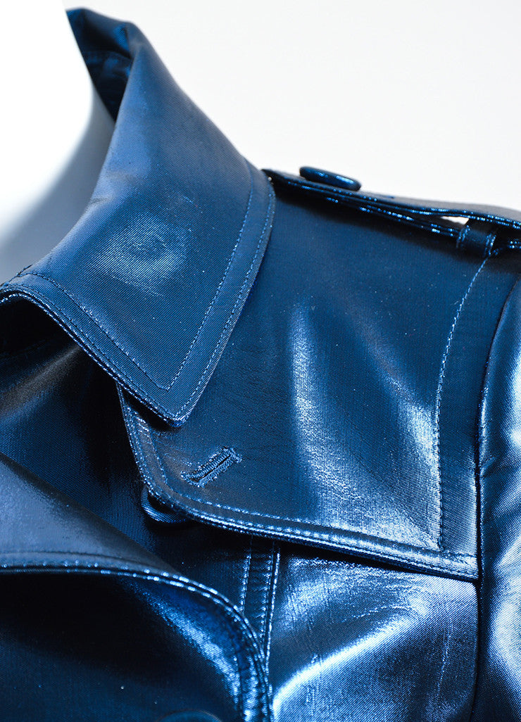 Blue Metallic Burberry Prorsum Double Breasted Trench Coat Detail
