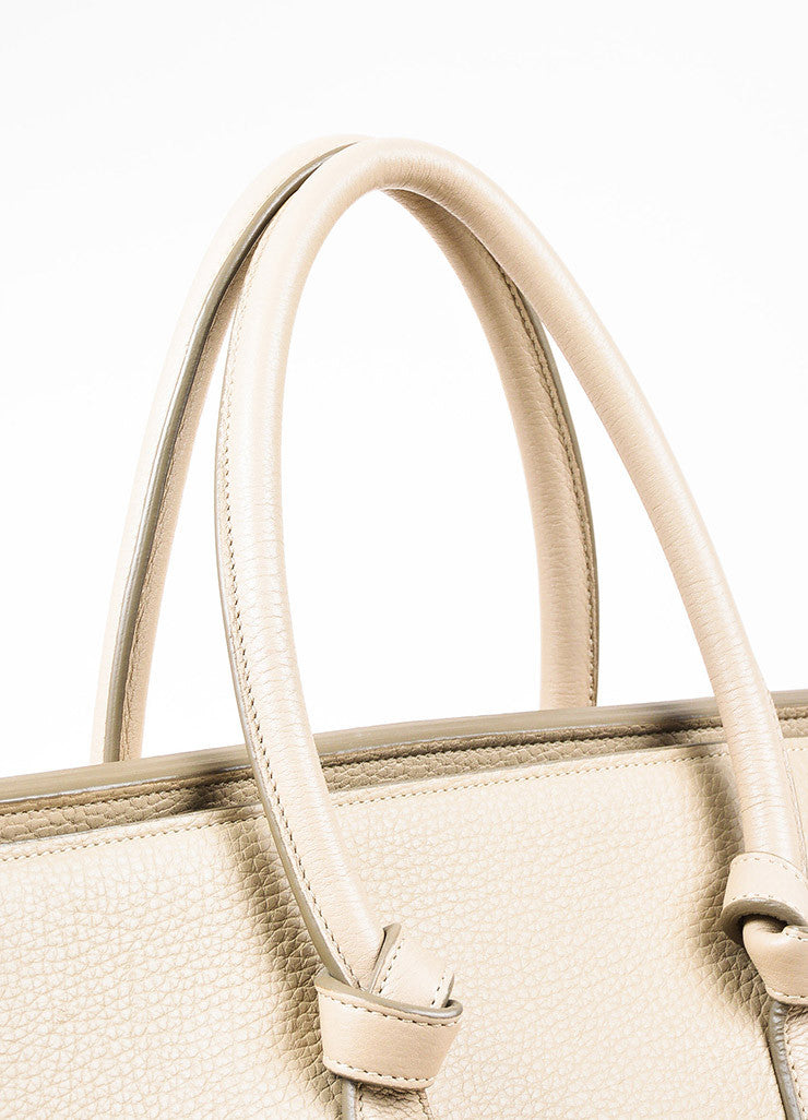 "Celine Taupe and Gold Toned Leather Top Handle Small ""Tie"" Tote"